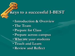 Keys to a successful I-BEST