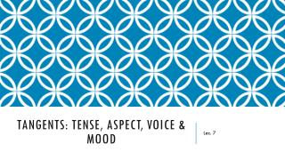 Tangents: Tense, Aspect, Voice & Mood