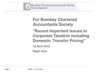 For Bombay Chartered Accountants Society