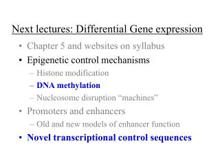 Next lectures: Differential Gene expression