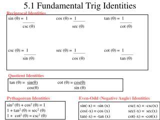 5.1 Fundamental Trig Identities