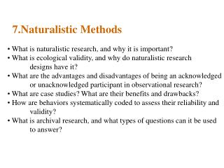 7.Naturalistic Methods