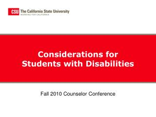 Considerations for Students with Disabilities