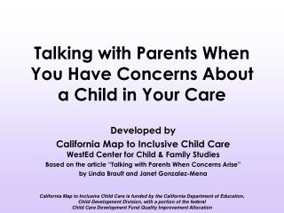 Talking with Parents When You Have Concerns About a Child in Your Care