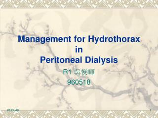 Management for Hydrothorax in Peritoneal Dialysis