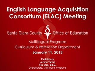 English Language Acquisition Consortium (ELAC) Meeting