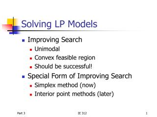 Solving LP Models