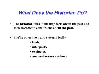 What Does the Historian Do?