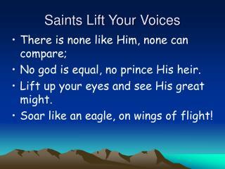 Saints Lift Your Voices