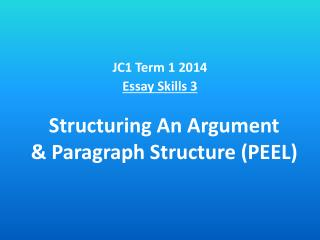 Structuring An Argument & Paragraph Structure (PEEL)