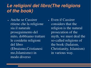 Le religioni del libro(The religions of the book)