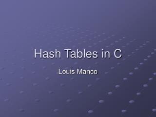 Hash Tables in C