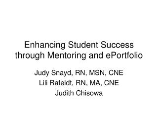 Enhancing Student Success through Mentoring and ePortfolio