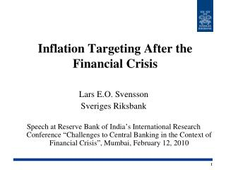 Inflation Targeting After the Financial Crisis