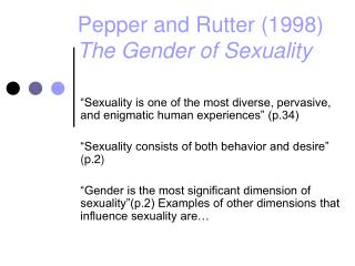 Pepper and Rutter (1998) The Gender of Sexuality