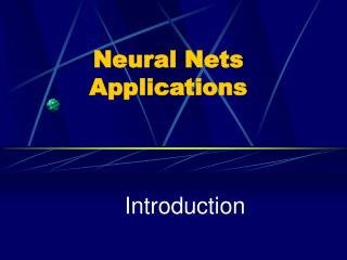Neural Nets Applications