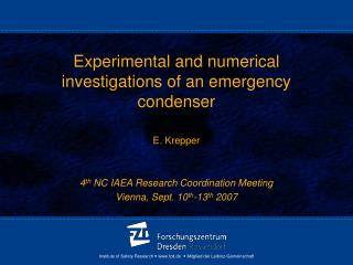Experimental and numerical investigations of an emergency condenser