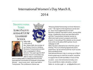 International Women's Day March 8, 2014