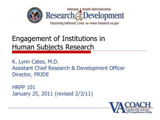 Engagement of Institutions in    Human Subjects Research