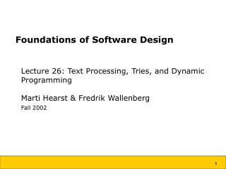Foundations of Software Design