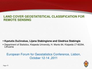 LAND COVER GEOSTATISTICAL CLASSIFICATION FOR REMOTE SENSING