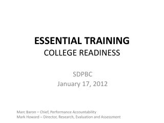 ESSENTIAL TRAINING  COLLEGE READINESS