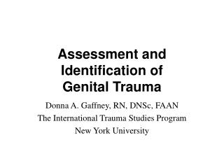 Assessment and Identification of Genital Trauma