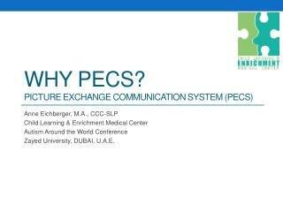 Why  pecs ? PICTURE EXCHANGE COMMUNICATION SYSTEM (PECS)