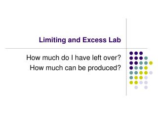 Limiting and Excess Lab