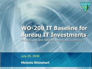WO-200 IT Baseline for Bureau IT Investments Background and Recommendations Summary