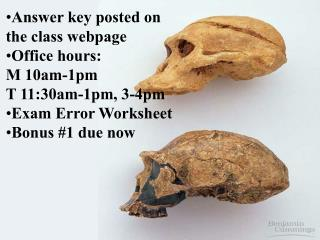 Answer key posted on the class webpage Office hours: M 10am-1pm T 11:30am-1pm, 3-4pm