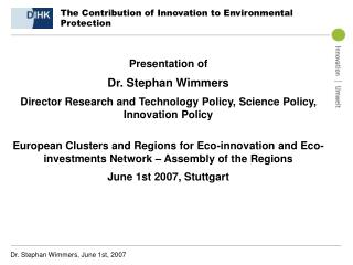 The Contribution of Innovation to Environmental Protection
