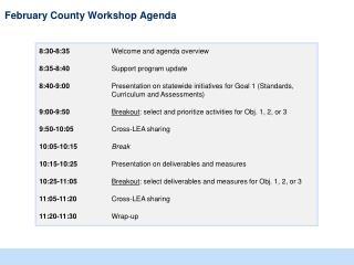 February County Workshop Agenda