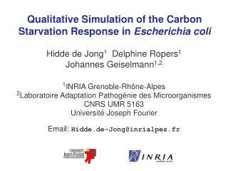 Qualitative Simulation of the Carbon Starvation Response in  Escherichia coli
