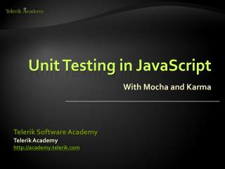 Unit Testing in JavaScript