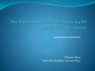 The Role and Potential of Advocacy for People with Disabilities