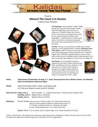 Presents Silence! The Court is in Session A play by Vijay  Tendulkar