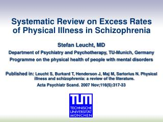 Systematic Review on Excess Rates of Physical Illness in Schizophrenia