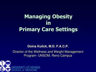 Managing Obesity  in  Primary Care Settings