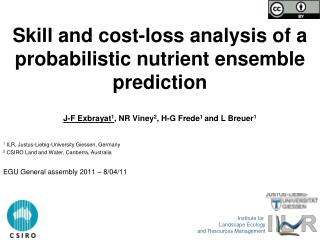 Skill and cost-loss analysis of a probabilistic nutrient ensemble prediction