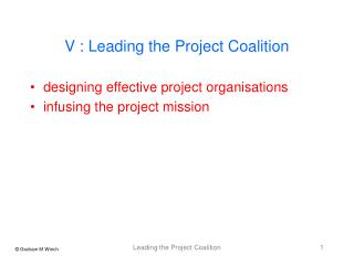 V : Leading the Project Coalition