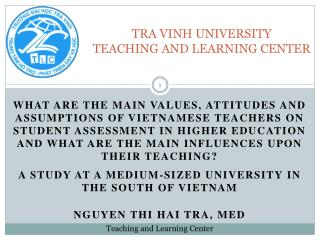TRA VINH UNIVERSITY TEACHING AND LEARNING CENTER