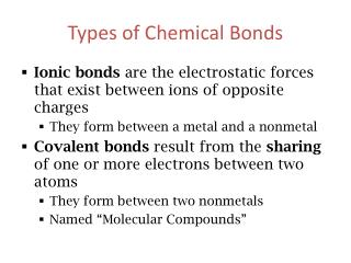 Types of Chemical Bonds