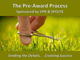 The Pre-Award Process Sponsored by VPR & SPO/IIE Tending the Details. . . C reating Success