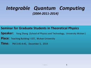 Seminar for Graduate Students in Theoretical Physics