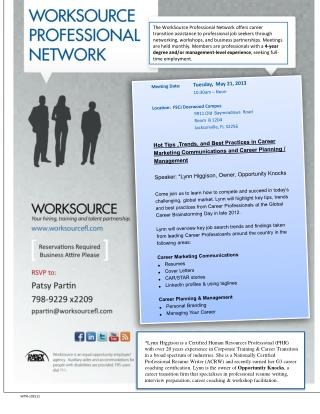 Meeting Date: Tuesday, May 21, 2013 10:30am – Noon Location: FSCJ Deerwood Campus