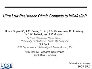 Ultra Low Resistance Ohmic Contacts to InGaAs/InP