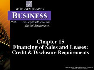 Chapter 15 Financing of Sales and Leases: Credit & Disclosure Requirements