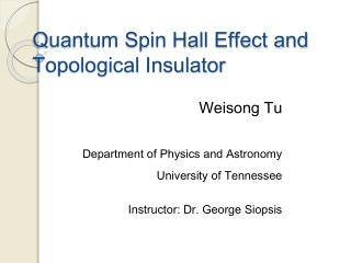 Quantum Spin Hall Effect and Topological Insulator