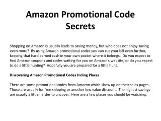 Amazon Promotional Code Secrets